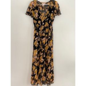 Band of Gypsies Black & Yellow Floral Maxi Dress